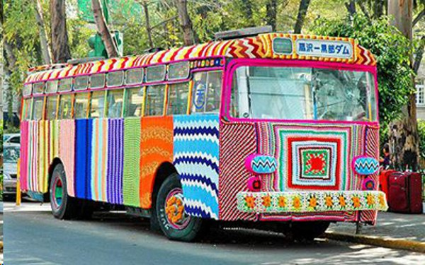 yarn bombing on a bus